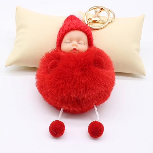 Llavero bebe dormidito de peluche con gorrito de lana