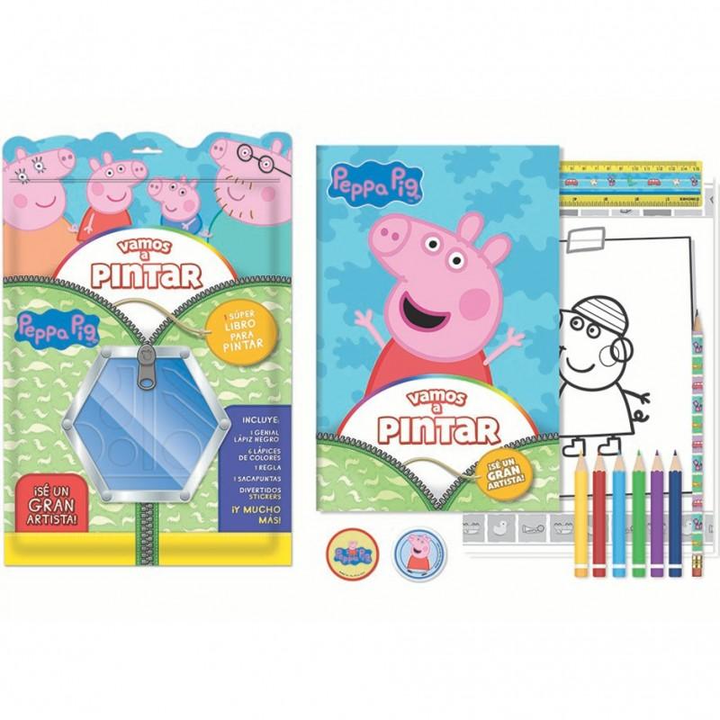 Vamos A Pintar Peppa Pig Libro Dos Cintas Lápiz 6 Lápices Colores Regla Sacapuntas