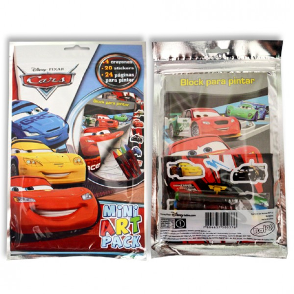 Cars Mini Art Pack: 4 crayones+20 stickers+24 páginas para pintar